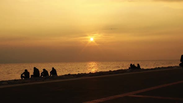 Thumbnail for People Life In Yellow Sea Sunset Time Timelapse