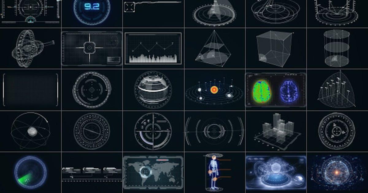 Download 30 Super Hi-Tech HUD & Infographics Elements by Stefoto