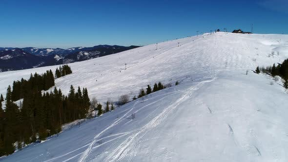 Thumbnail for Ski Lift at Ski Resort in Sunny Carpatian Mountains