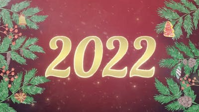 Happy New Year and Merry Christmas Elements 2022 Neon Animation 3d Motion Design for New Year