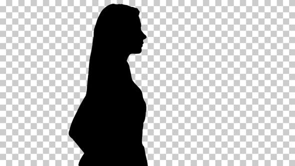 Silhouette Pretty woman walks, Alpha Channel
