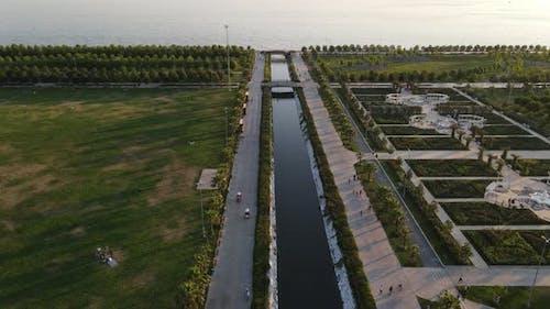 River into Marmara Sea Drone Shot
