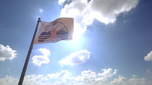 Himachal Pradesh Flag on a Flagpole V4