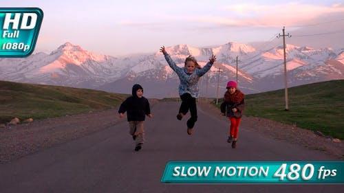 Children Running on the Road