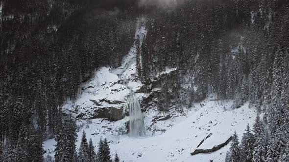 Thumbnail for Aerial of Krimml Waterfall in Winter