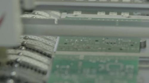 Production of Electronic Board. Close-up