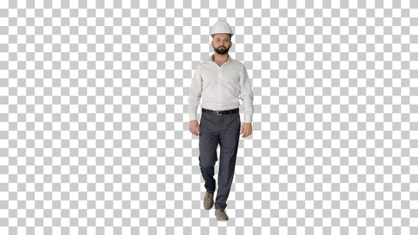 Thumbnail for Businessman in formal wear and white hardhat walking, Alpha Channel
