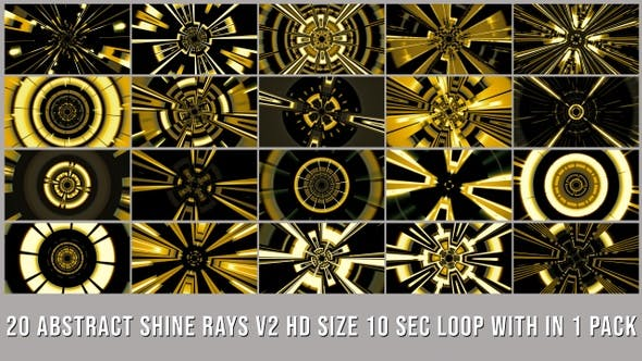 Thumbnail for Abstract Shine Rays Elements Pack V02