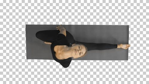 Portrait of a young woman stretching body, Alpha Channel