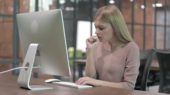 Thumbnail for Sick Woman Having Coughing While Working on Computer