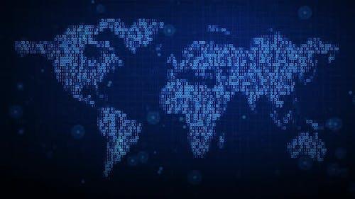 Abstract Digital Binary World Map