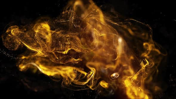 Thumbnail for Golden Fluid Particles Background Loop
