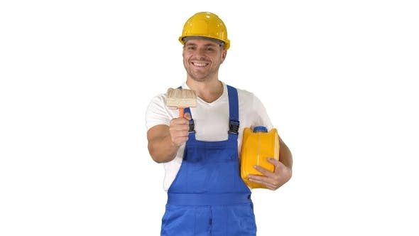 Thumbnail for Worker holding paint brush smiling to camera on white background