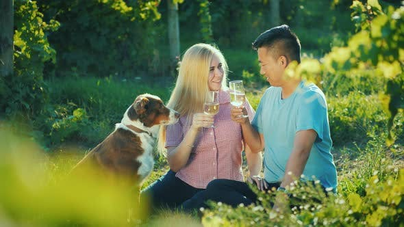 Thumbnail for Happy Couple Tasting Wine Near the Vineyard, Their Dog Near Them. Happy Together Good Time Concept