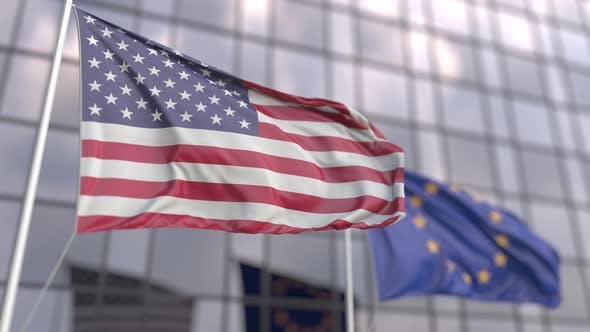 Flags of the USA and the European Union