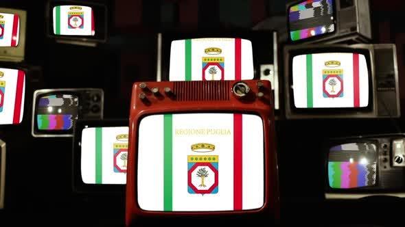 Flag of Apulia, Italy Region, and Old Retro TV Sets.