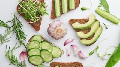 Spicy Avocado Sandwiches on Whole Grain Bread