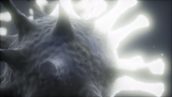 Thumbnail for Bakterienvirus oder Keime Mikroorganismuszellen unter Mikroskop mit Tiefe