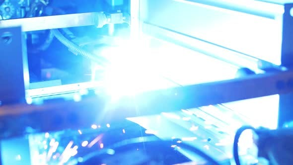 Thumbnail for Process Welding Metal Part on Automatic Machine at Factory. Metal Working