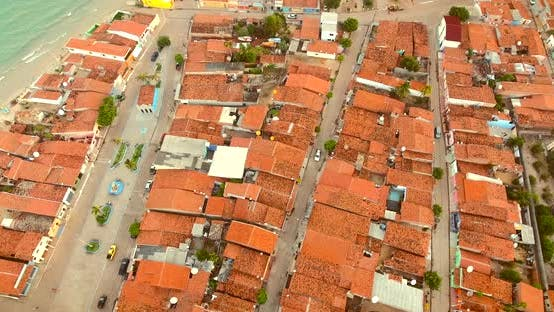 Aerial view of neighbourhood on the coast of Brazil.