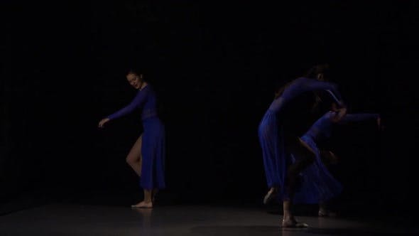 Thumbnail for Slow Motion of Emotional Ballerinas Dancing in Studio