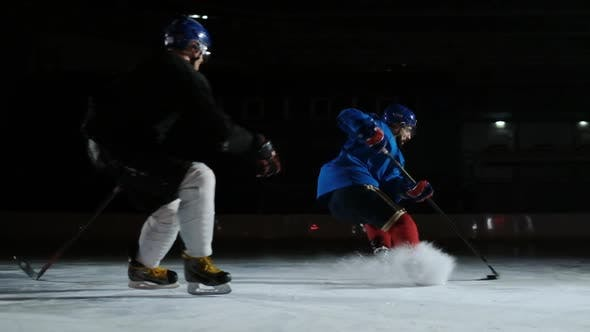 Thumbnail for Two Man Playing Hockey on Ice Rink. Hockey Two Hockey Players Fighting for Puck