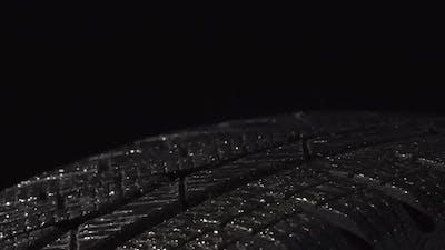 Wet Shiny Tire In The Dark