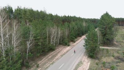 Cycling on forest road
