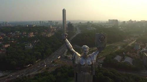 Great Mother Motherland in Kiev City. Drone View Kiev Pechersk Lavra