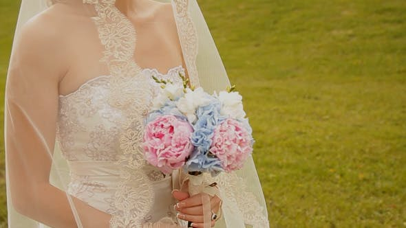 Thumbnail for The Bride With A Bouquet Goes Along Green Hills