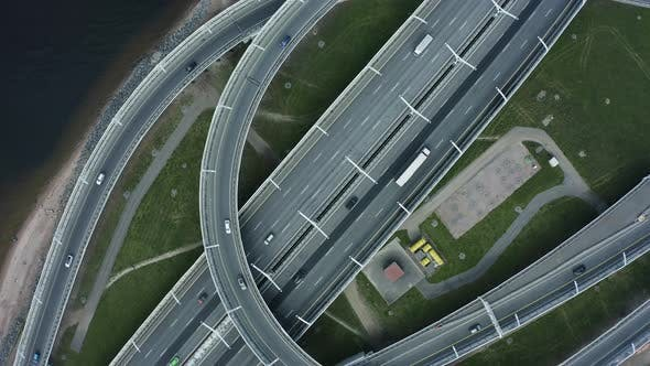 Cover Image for Car Driving on Road Driveway Spbd. Urban Aerial View. Freeway Motorway. Cars Driving on Driveway