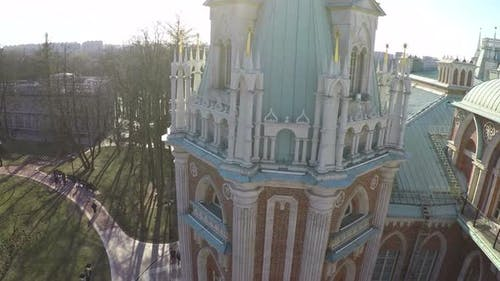 Flying over the palace tower