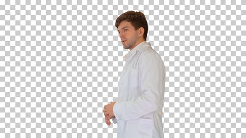 Doctor wearing white coat explaining something, Alpha Channel