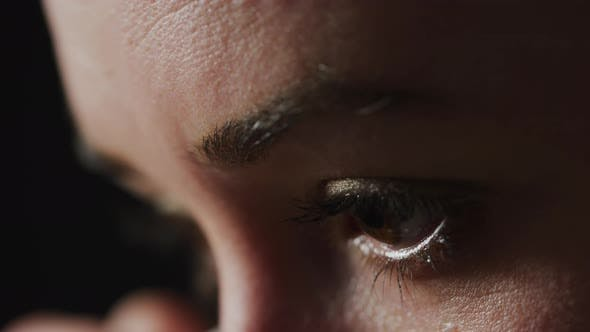Thumbnail for Close up of a woman's wet eyes