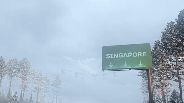 Thumbnail for Airplane Arrives to Singapore In Snowy Winter