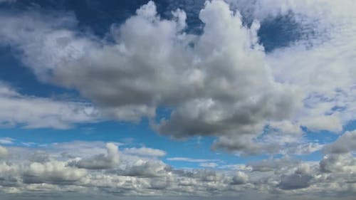 Puffy White Clouds Blue Sky Clean Weather Time Lapse Motion Bright Sky White Cloud Cloudscape Cloudy