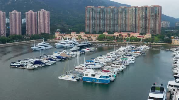 Thumbnail for Top view of typhoon shelter in castle peak bay in Hong Kong