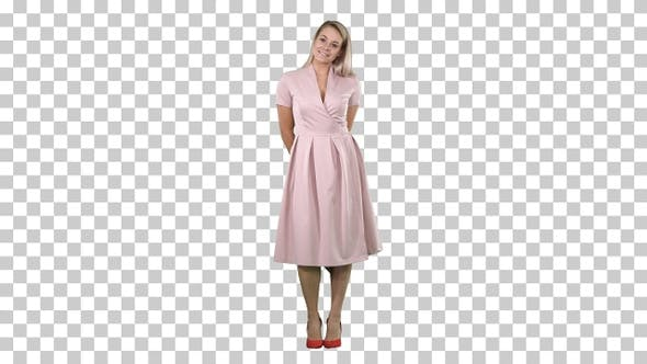 Thumbnail for Happy beautiful woman in pink dress posing, Alpha Channel