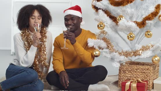 Thumbnail for Curly Woman and African American Man Celebrate Holiday Together Sitting Near Christmas Tree in Room
