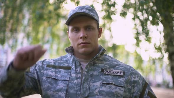 Army Soldier in Military Uniform Looking at Camera, Professional Serviceman