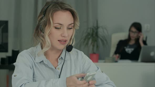 Call Center Specialist Multitasking at Work