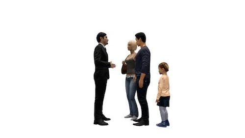 Male Salesperson Interviewing Family