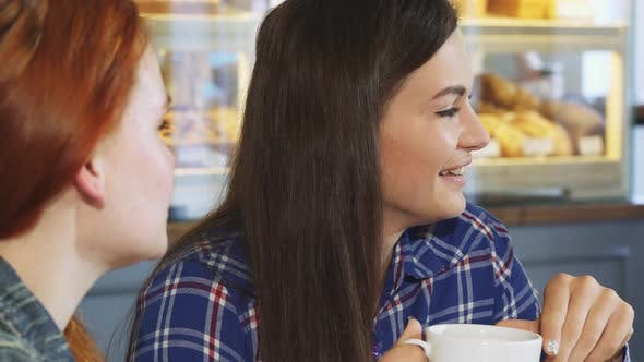 Thumbnail for Beautiful Young Woman Having Coffee with Her Friend at the Bakery Shop