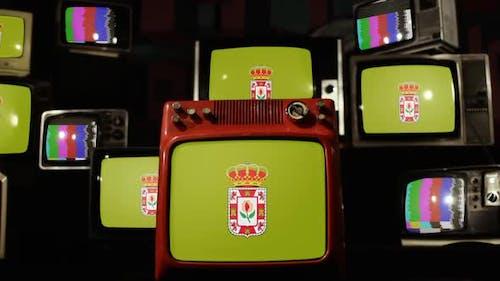 Flagge der Provinz Granada, Spanien, auf Retro-Fernsehern.