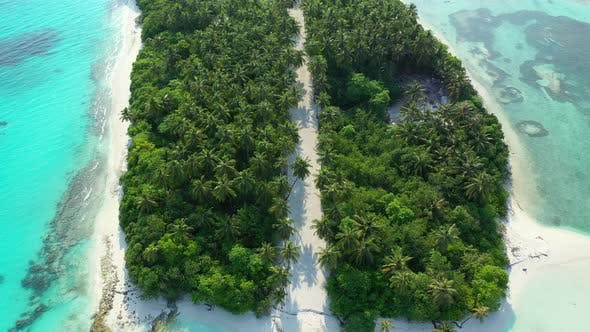 Thumbnail for Wide angle drone abstract view of a summer white paradise sand beach and blue ocean background