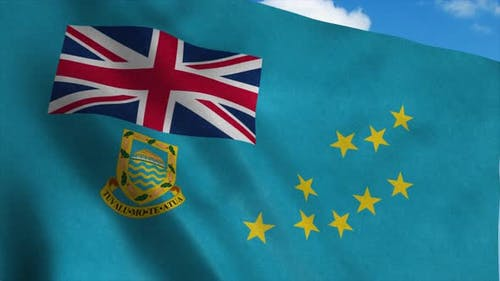 Tuvalu Flag Waving in the Wind, Blue Sky Background