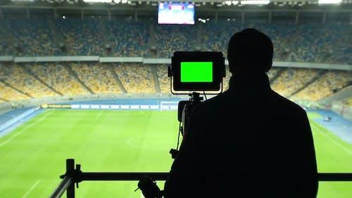 Broadcasting Football Match TV Camera, Green Screen, Coverage