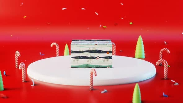 Thumbnail for Gift Box Lollipops Red Background Wishing Merry Christmas