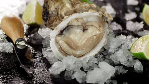 An Oyster with Ice, Lime and a Knife Rotates on the Table.