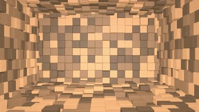 Abstract room interior with brown cubes